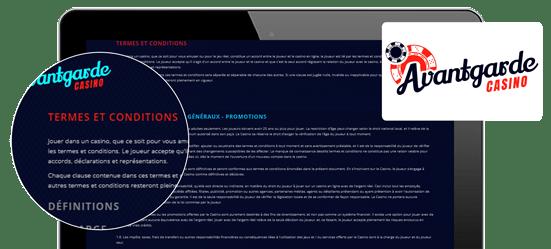 termes et conditions avantgarde casino